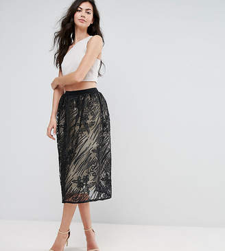 Little Mistress Tall Full Lace Midi Skirt