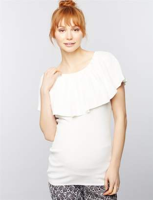A Pea in the Pod Pleated Off The Shoulder Maternity Sweater