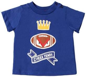 Fendi Football Printed Cotton Jersey T-Shirt