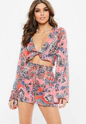 Missguided Coral Paisley Print Satin Twist Front Crop Top