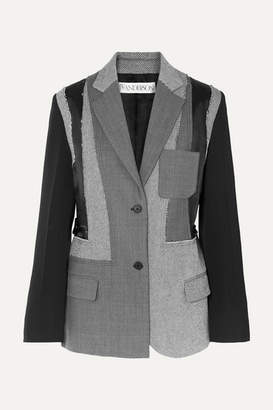J.W.Anderson Patchwork Wool, Twill And Satin Blazer - Gray