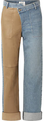 Monse Leather-paneled Mid-rise Straight-leg Jeans - Blue