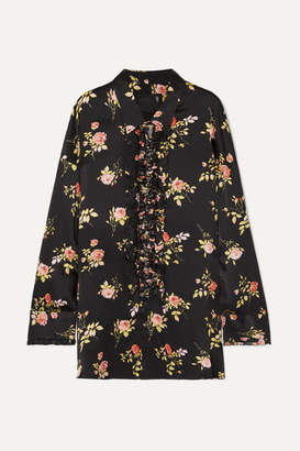 R 13 Ruffled Floral-print Silk-satin Blouse - Black