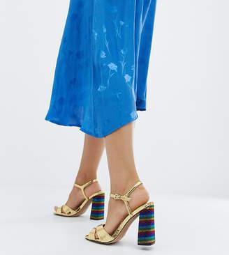 Asos DESIGN Wide Fit Wisdom rainbow block heeled sandals
