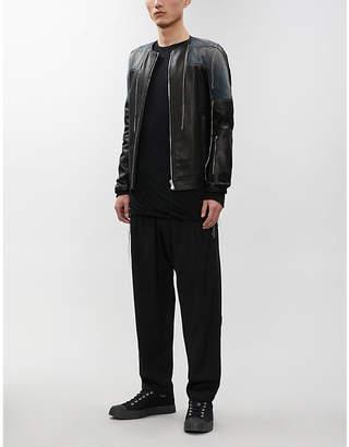 Sisyrotterdam distressed contrast-panel leather and denim jacket