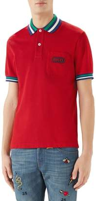 Gucci Logo Patch Tipped Pique Polo