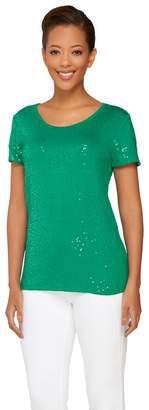 Isaac Mizrahi Live! Short Sleeve Scoop Neck Sequin T-Shirt