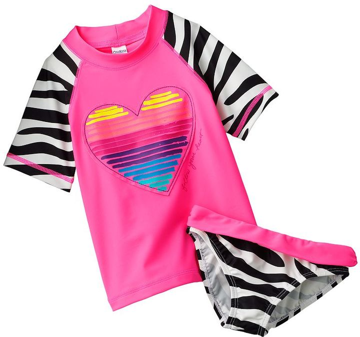 Osh Kosh heart and zebra 2-pc. rash guard set - girls 4-6x