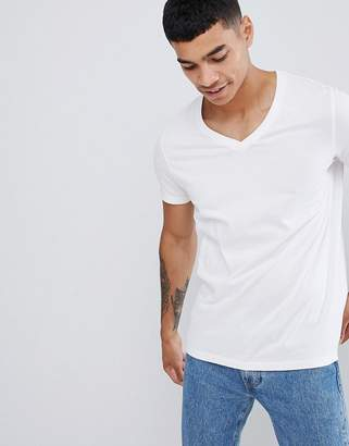 Asos DESIGN t-shirt with v neck in white