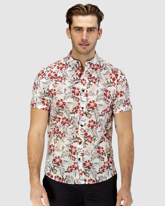 Brooksfield Hawaiian Print Short Sleeve Casual Shirt