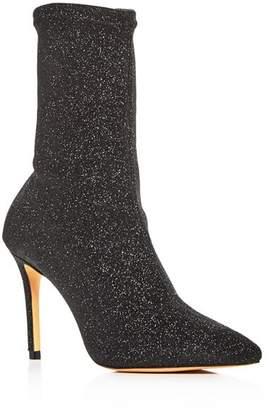 Schutz Women's Sciarpe Glitter Stretch High-Heel Booties