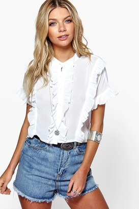 boohoo Grace Ruffle Short Sleeved Shirt $30 thestylecure.com