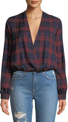 Lovers And Friends Whisper Plaid Chiffon Cropped Top