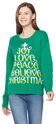 Ugly Fairisle Unisex Adult Jacquard Joy Love Peace Believe Christmas Crewneck Long Sleeve Christmas Sweater L Green/Gold Yellow/White