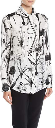 Oscar de la Renta Tie-Neck Button-Front Long-Sleeve Floral-Print Two-Tone Silk Blouse