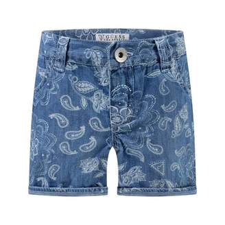 GUESS GuessGirls Blue Denim Flroal Print Shorts