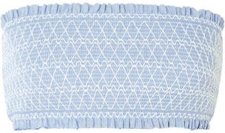 Heidi Klein Cassis Smocked Stretch-piqué Bandeau Bikini Top - Light blue