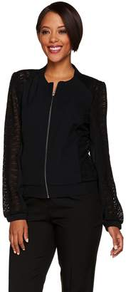 Halston H By H by Zip Front Bomber Jacket w/ Lace Panel Details