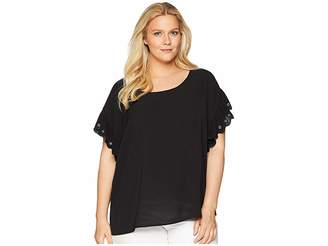 MICHAEL Michael Kors Size Scallop Edge Short Sleeve Top