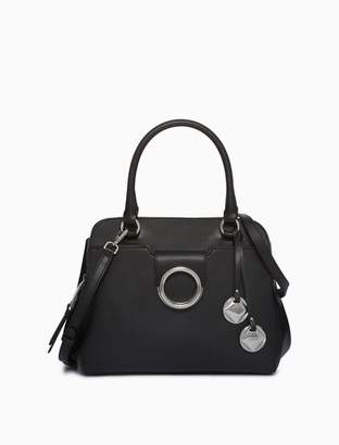 Calvin Klein leather circular hardware satchel