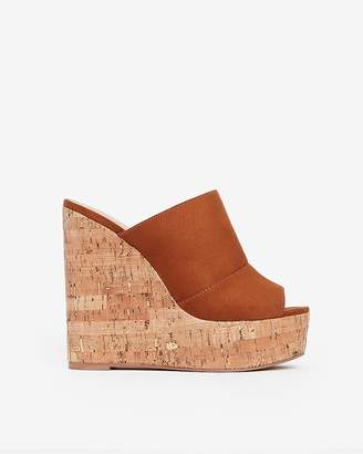 85fdce1957 Express Faux Suede Platform Cork Wedge Sandals