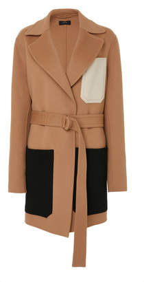 Joseph Marcus Belted Patchwork-Effect Wool And Cashmere-Blend Coat