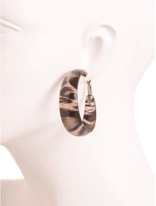 Kenneth Jay Lane Leopard Print Resin Hoops Earrings