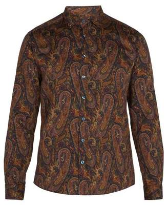Etro Point Collar Paisley Print Cotton Shirt - Mens - Beige Multi