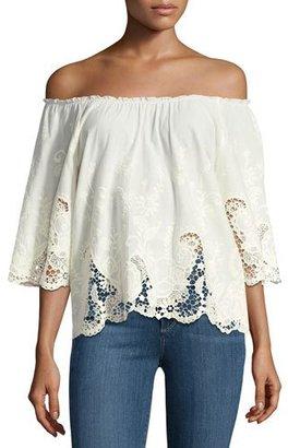 Ella Moss Jadeynn Off-the-Shoulder Lace Top, Natural $168 thestylecure.com