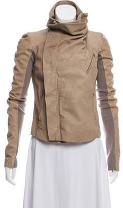 Rick Owens Knit-Trimmed Leather Jacket Beige Knit-Trimmed Leather Jacket