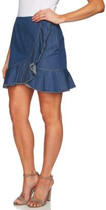 CeCe Cascading Ruffle Denim Skirt