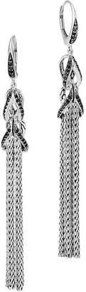 John Hardy Sterling Silver Asli Classic Chain Black Sapphire & Black Spinel Tassel Drop Earrings