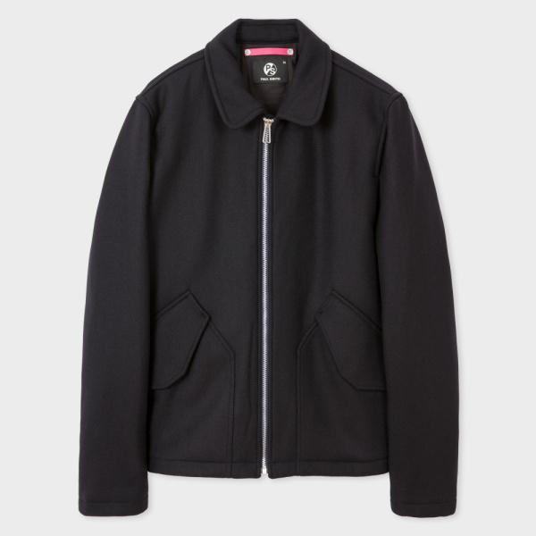 Paul SmithMen's Navy Wool-Cashmere Blend Flight Jacket