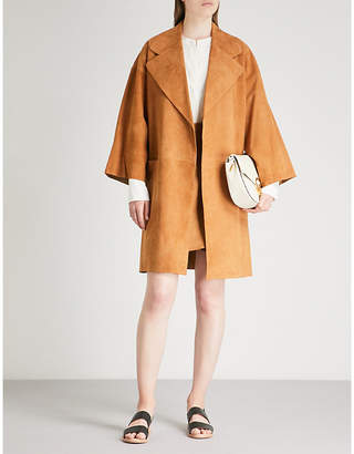 Theory Notch-lapel suede coat
