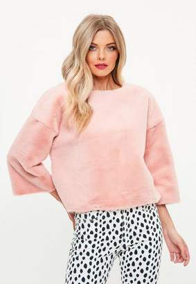 Missguided Pink Raw Edge All Over Fur Sweatshirt