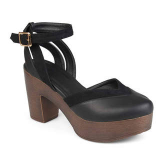 Journee Collection Womens Rumer Pumps Buckle Round Toe Stacked Heel