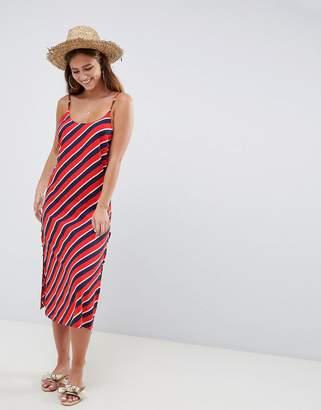 Asos DESIGN stripe print lace up side beach dress