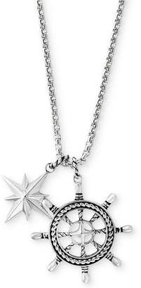 Effy Men Ship Wheel and Star Pendant Necklace in Sterling Silver