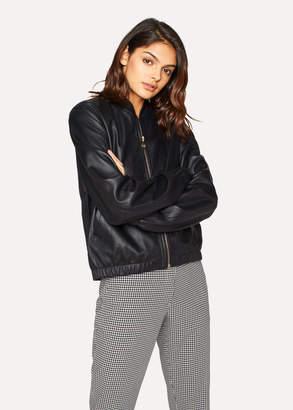 Paul Smith Women's Black Leather Bomber Jacket