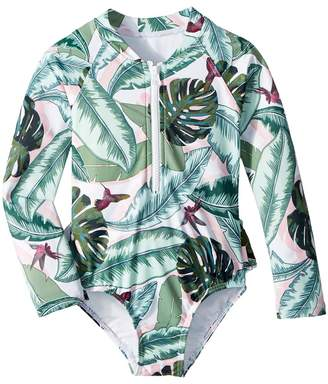 Seafolly Palm Beach Long Sleeve Surf Tank One-Piece Girl's Swimsuits One Piece