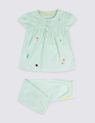 Marks and Spencer Gingham Pure Cotton Pyjamas (1-7 Years)