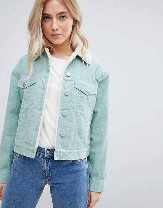 Asos DESIGN cord jacket with fleece collar in duck egg blue