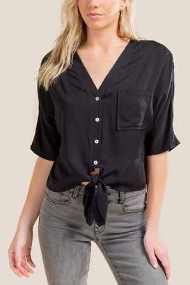 francesca's Tamsin Button Down Tie Front Top - Black