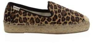 Soludos Leopard-Print Calf Hair Espadrille Loafers