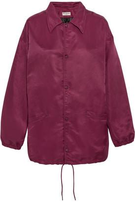 Balenciaga - Oversized Satin Bomber Jacket - Burgundy $1,395 thestylecure.com