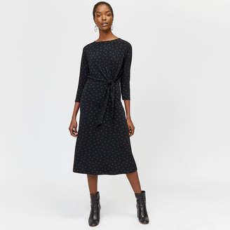 Warehouse Polka Dot Tie Front Midi Dress