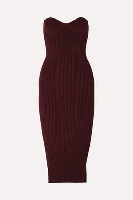 KHAITE Loie Strapless Ribbed-knit Midi Dress - Red
