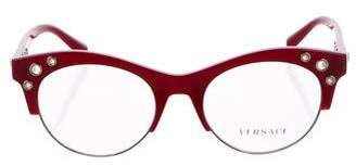Versace Grommet-Accented Round Eyeglasses w/ Tags