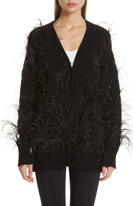 ADAM by Adam Lippes Crystal and Feather Embellished Wool & Cashmere Cardigan