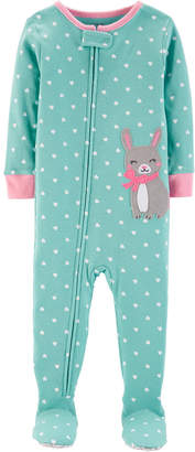Carter's Baby Girl Bunny Footed Cotton Pajamas
